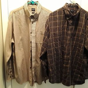 Arrow 2 Shirt Lot Brown Heritage Twill Button Down